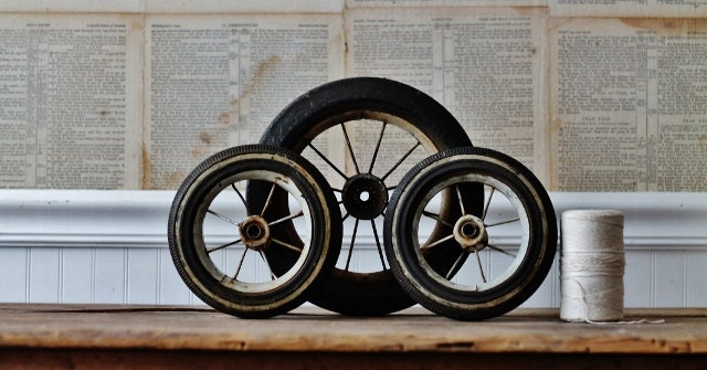 Vintage Tricycle Wheels : Vintage rusty wheels set of tricycle by knickoftime