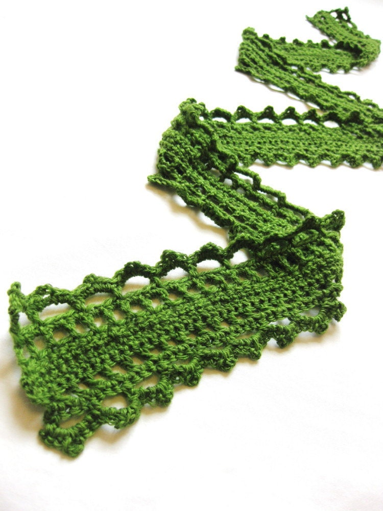 crochet scarf in light wool for women and teens - delicate lace, grassy woodland green - all natural fibers, in stock and ready to ship - BaruchsLullaby