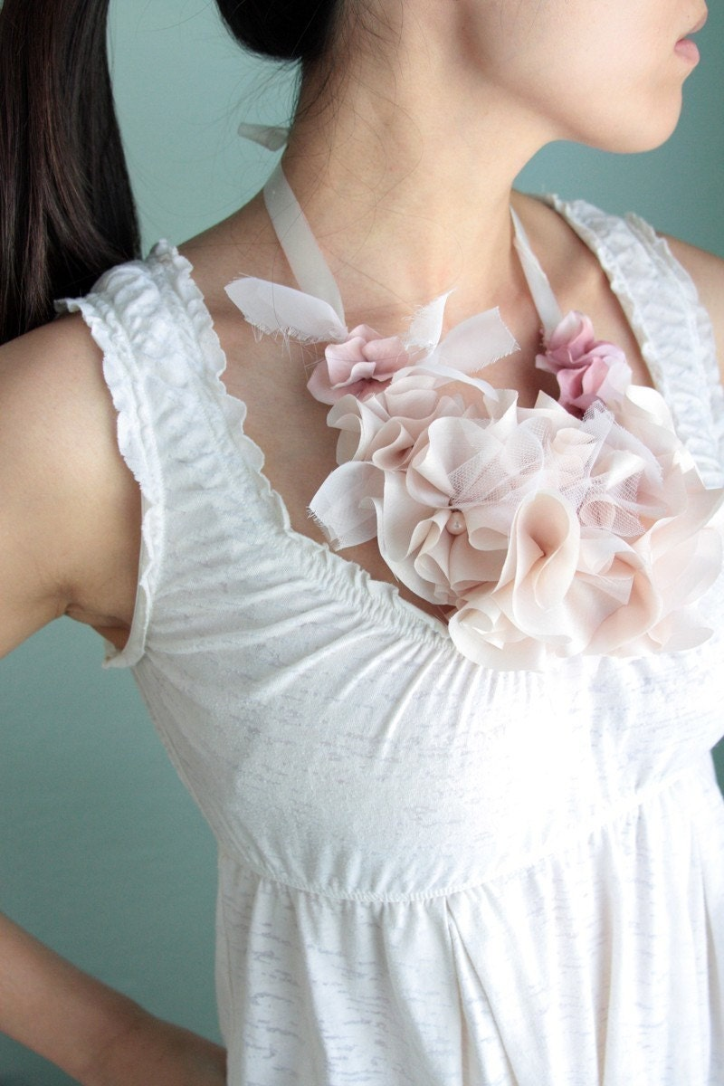 Necklace made from cloth peonies, via Etsy: myrakim