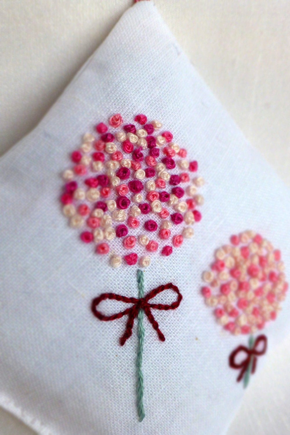 Million french knots lavender sachet hand embroidery by