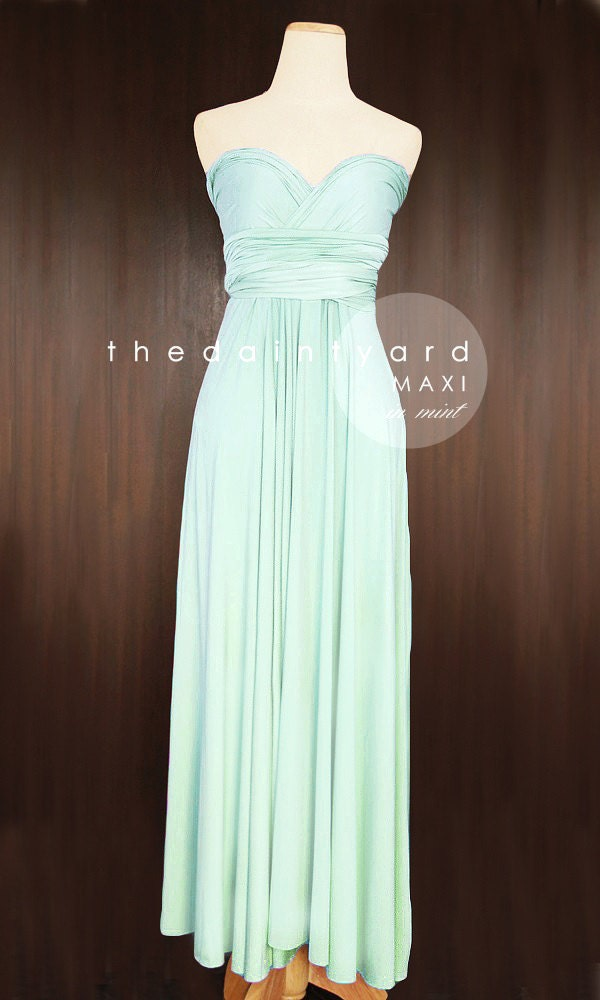 Maxi mint bridesmaid convertible infinity multiway by for Pastel green wedding dress