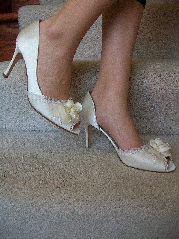 Camellia Silk Satin Ivory Bridal Shoe Hand Embellished