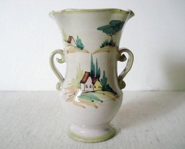 Vintage VANRO ITALY Vase Hand Painted Glazed Ceramic 2 By