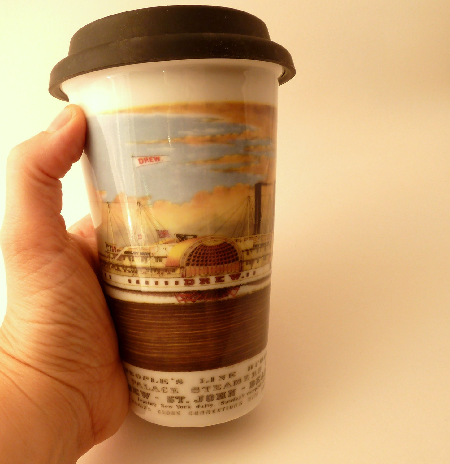 Porcelain Eco-Friendly To Go Cup with Vintage Hudson River Steamboat Ad -Unique Fathers Day Gift - FREE US SHIPPING for Father's Day - MilestoneDecalArt