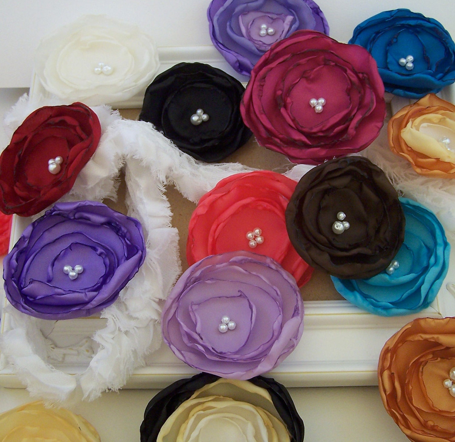 Set of 4 Medium 2.5 - 3 inch Vintage Inspired Fabric Flower Embellishments - You Choose Color