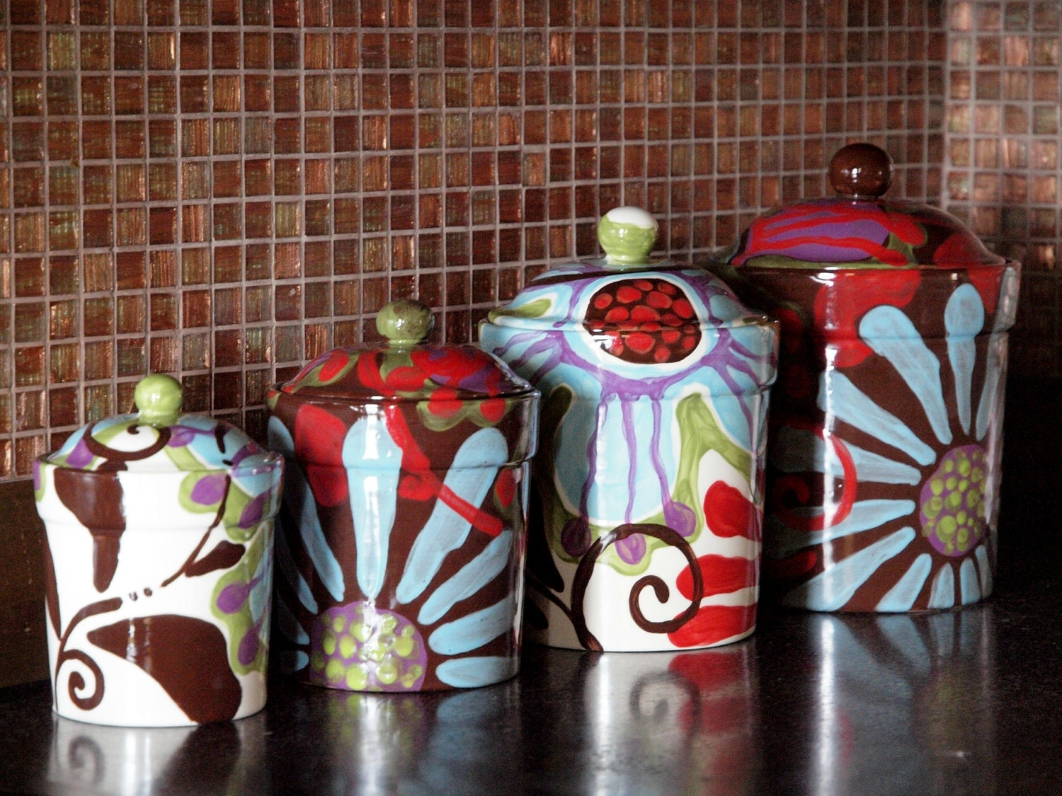 canister set of four urban fusion colorful pottery by decorative kitchen canisters and jars