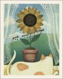 CAT in WINDOW w SUNFLOWERS and COWS PRINT Signed Wendy Presseisen