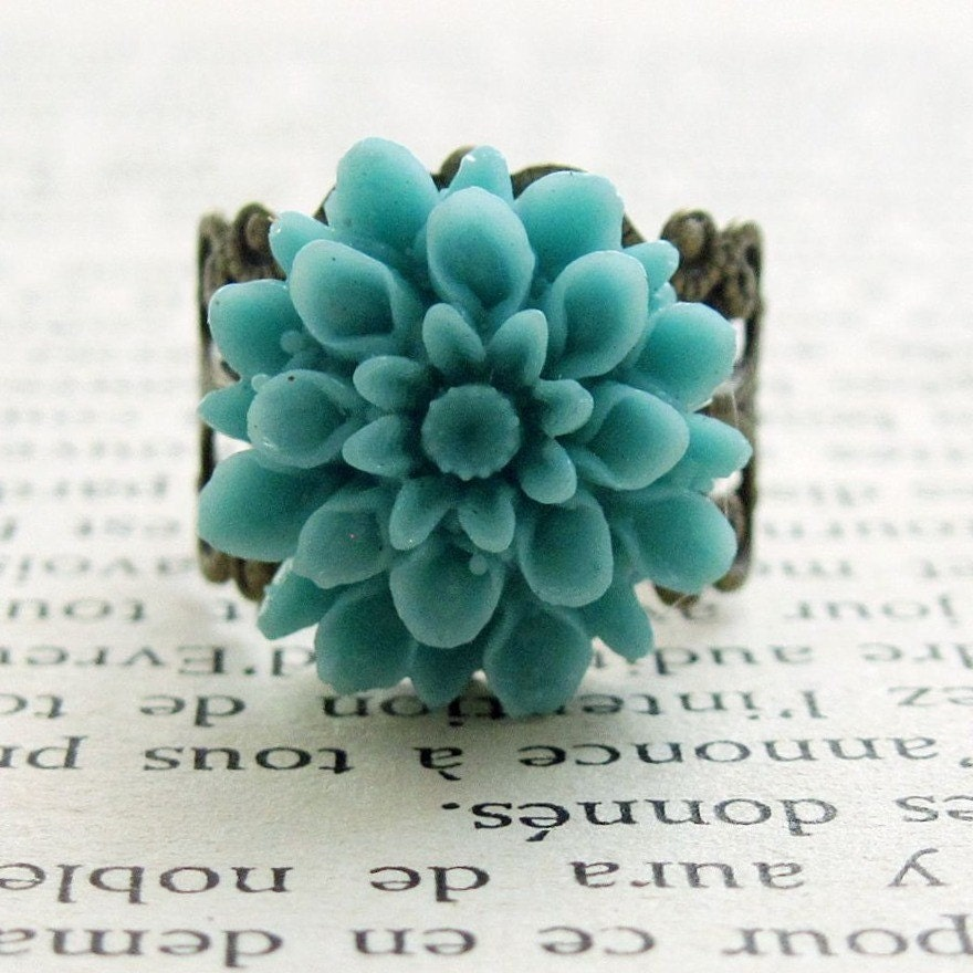 Turquoise Flower Ring Dahlia Flower Vintage Style Cocktail Ring - Garden Dreams