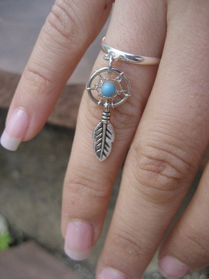 tiny catcher charm ring silver plated by azeetadesigns