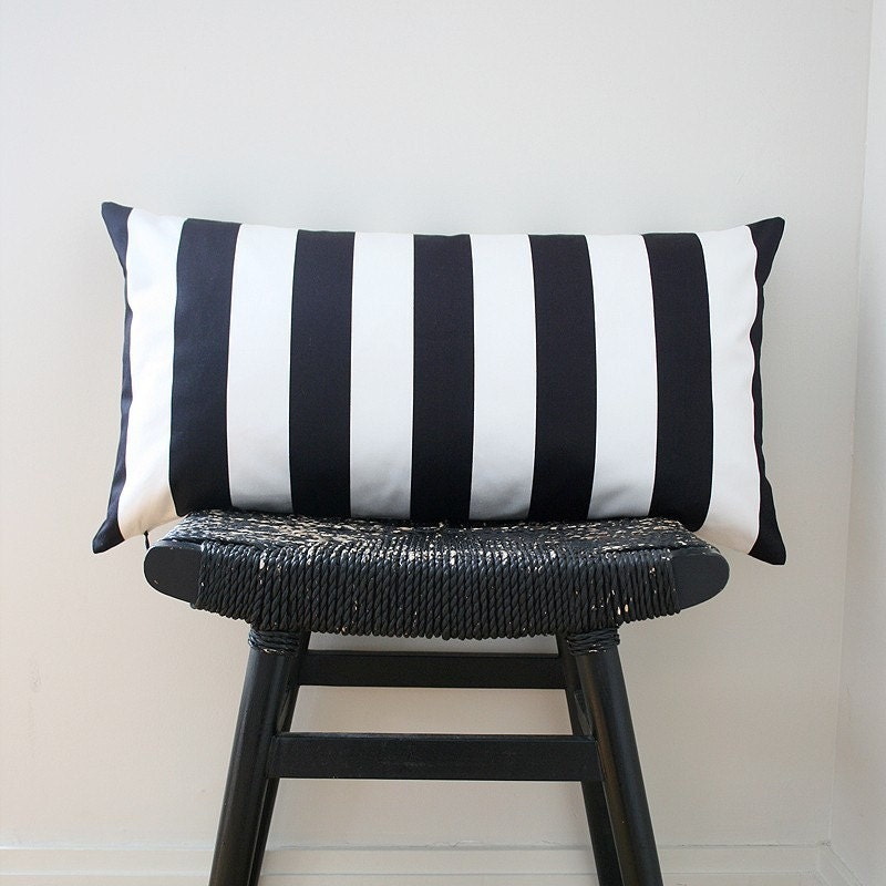 BLACK WHITE STRIPES Cotton Pillow Cover 63 x 34 cm