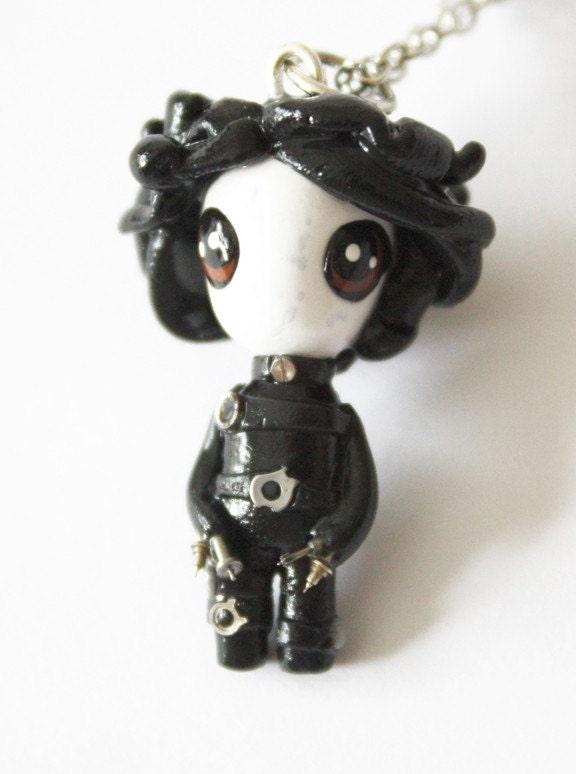 FREE SHIPPING - Edward Scissorhands - Miniature Sculpture - Charm Necklace
