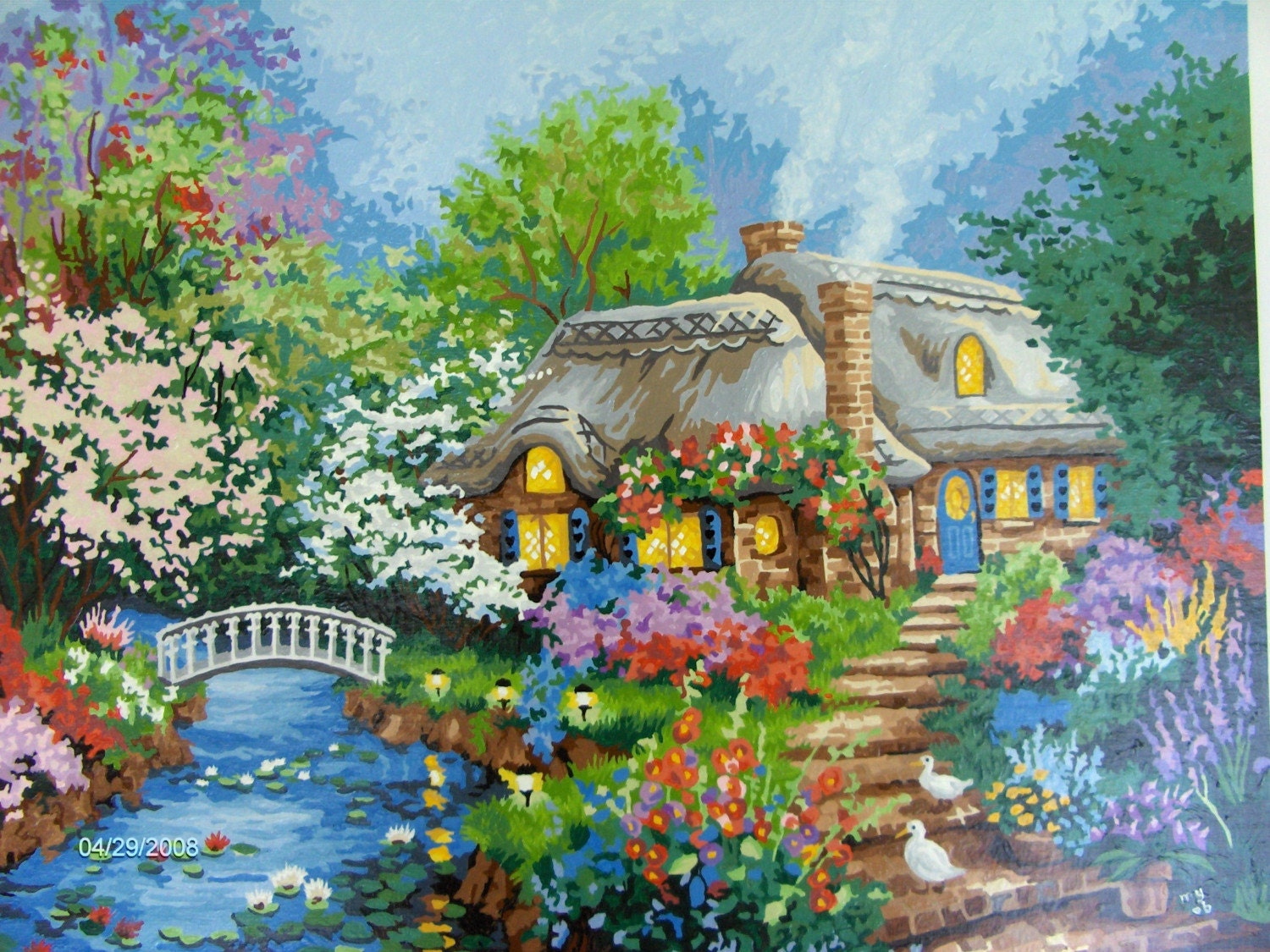 English Cottage Painting By Woodenwonderknits On Etsy