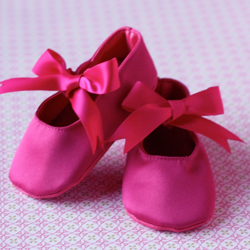 Hot Pink Ballet Shoes- 6 to 12 Months
