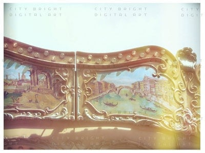 Carousel / Paris digital photography art  8.5 x 6.5 // Vintage-like romantic merry-go-round / Girl's room / Wall decor Greeting card, Gift - CityBright