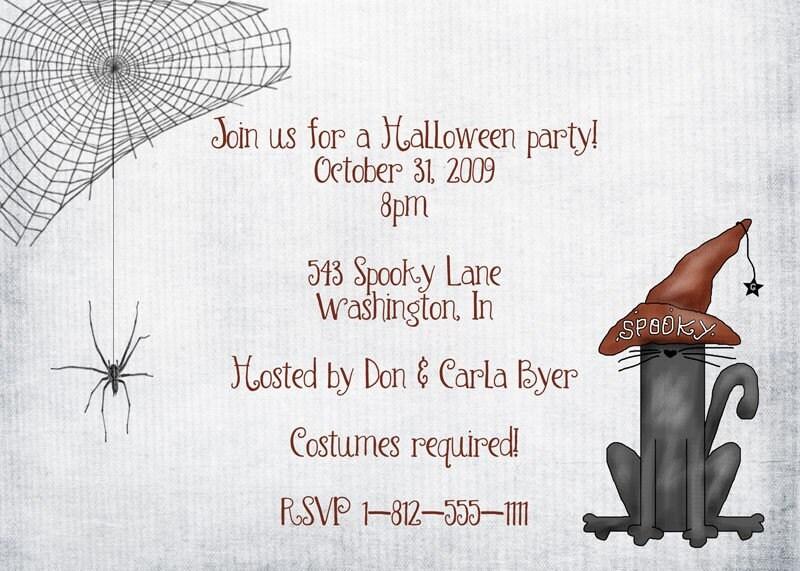 Spooky Cats and Cobwebs Halloween Invitation