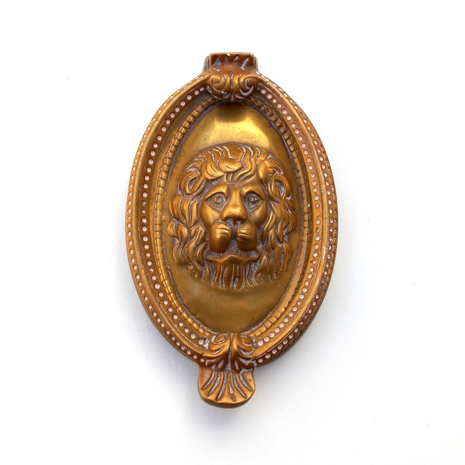 Antique lion door knocker brass oval cameo by knockplease on etsy - Antique brass door knocker ...