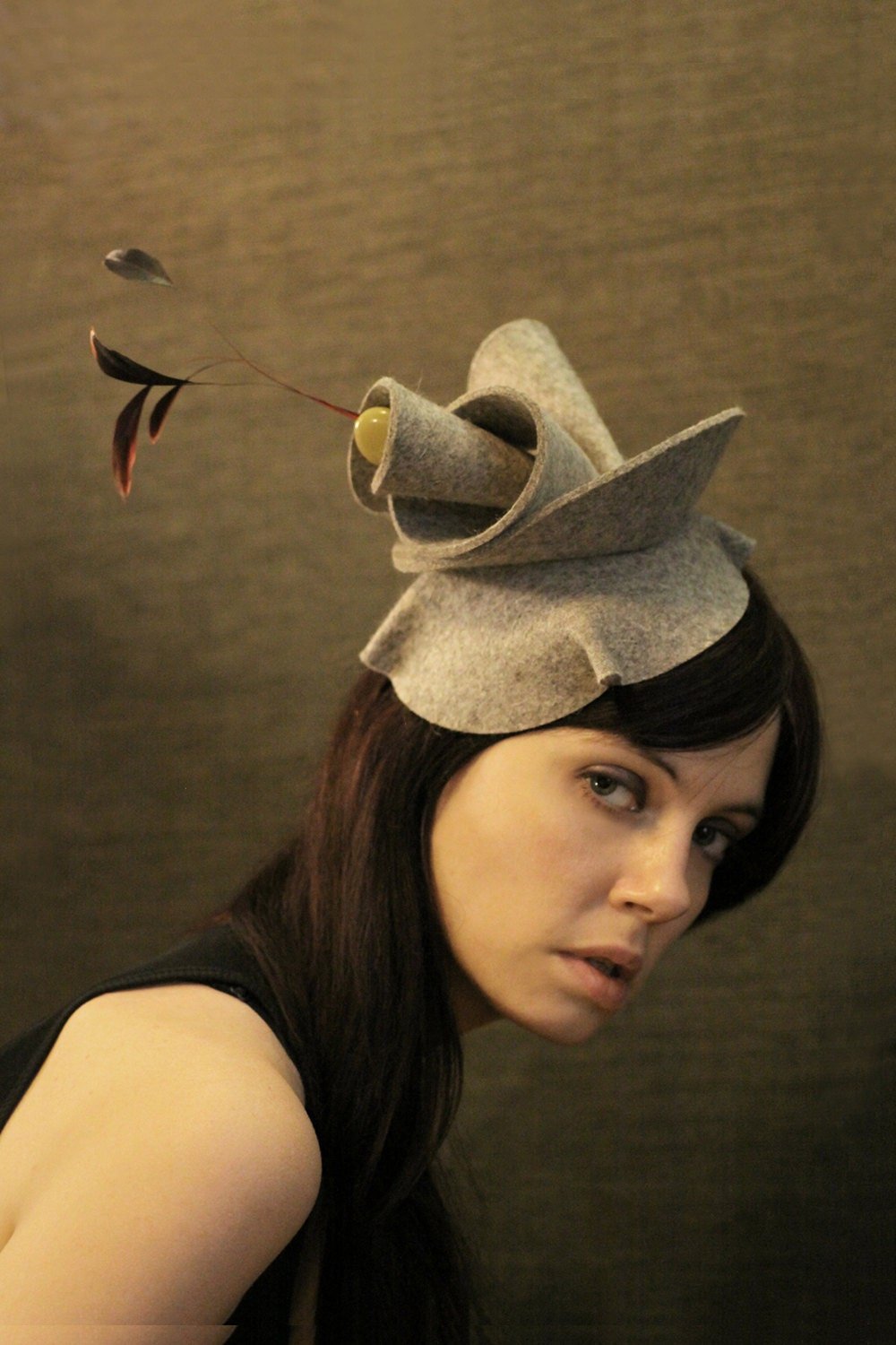 Sculptural Grey Felt Hat With Feathers-Architectonic Series
