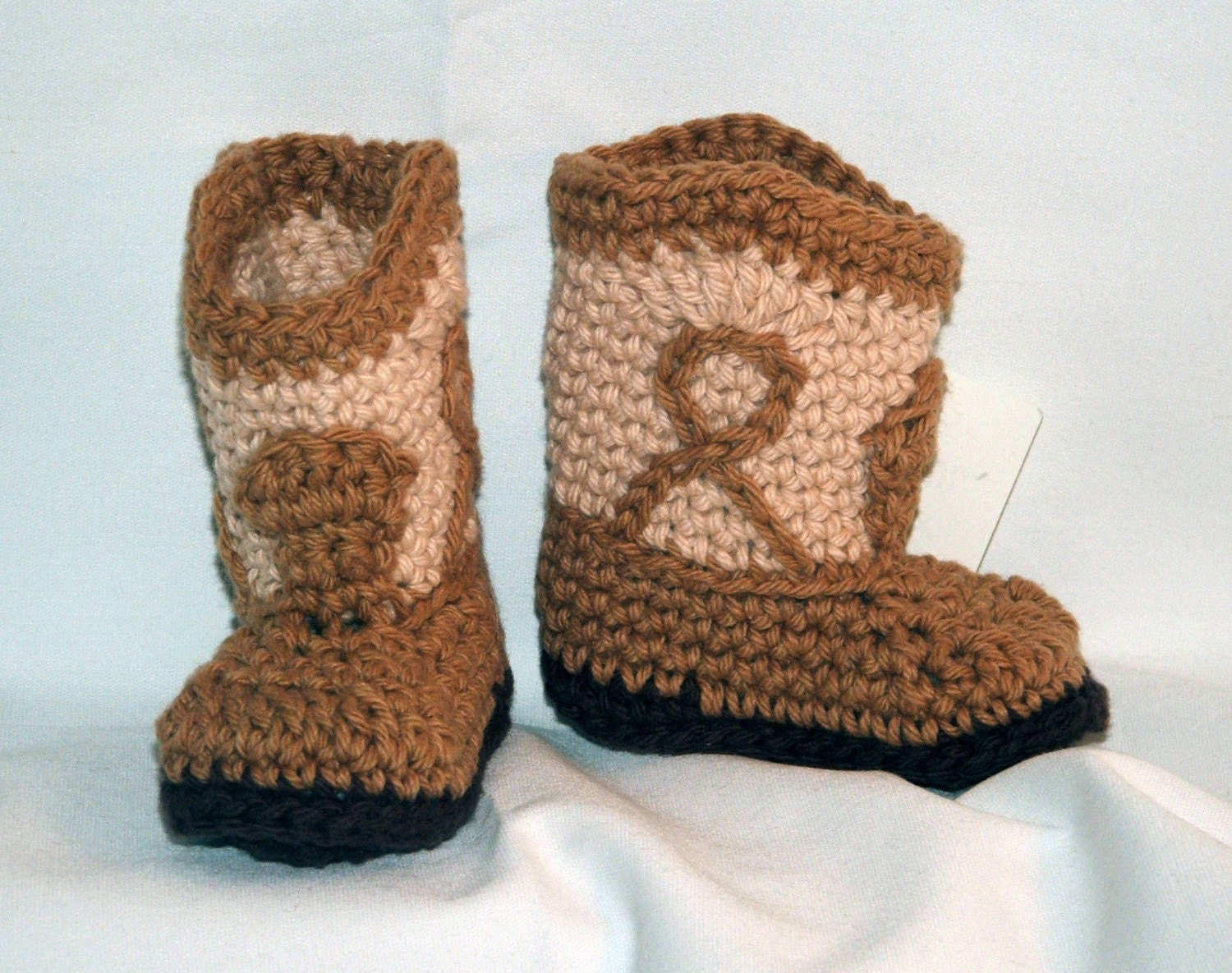Tan Cowboy Booties, MEDIUM size, that look like real cowboy boots