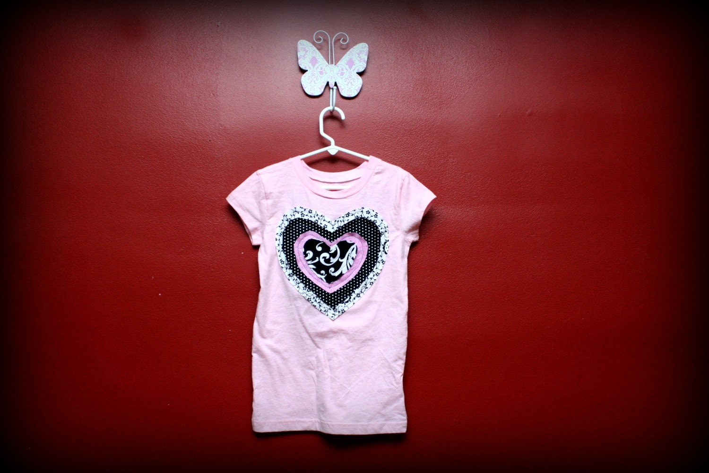Pink, Frayed Heart Shirt with Matching Hairclip
