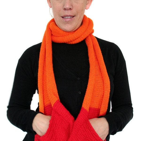 ORANGE & RED Pocket Long Scarf