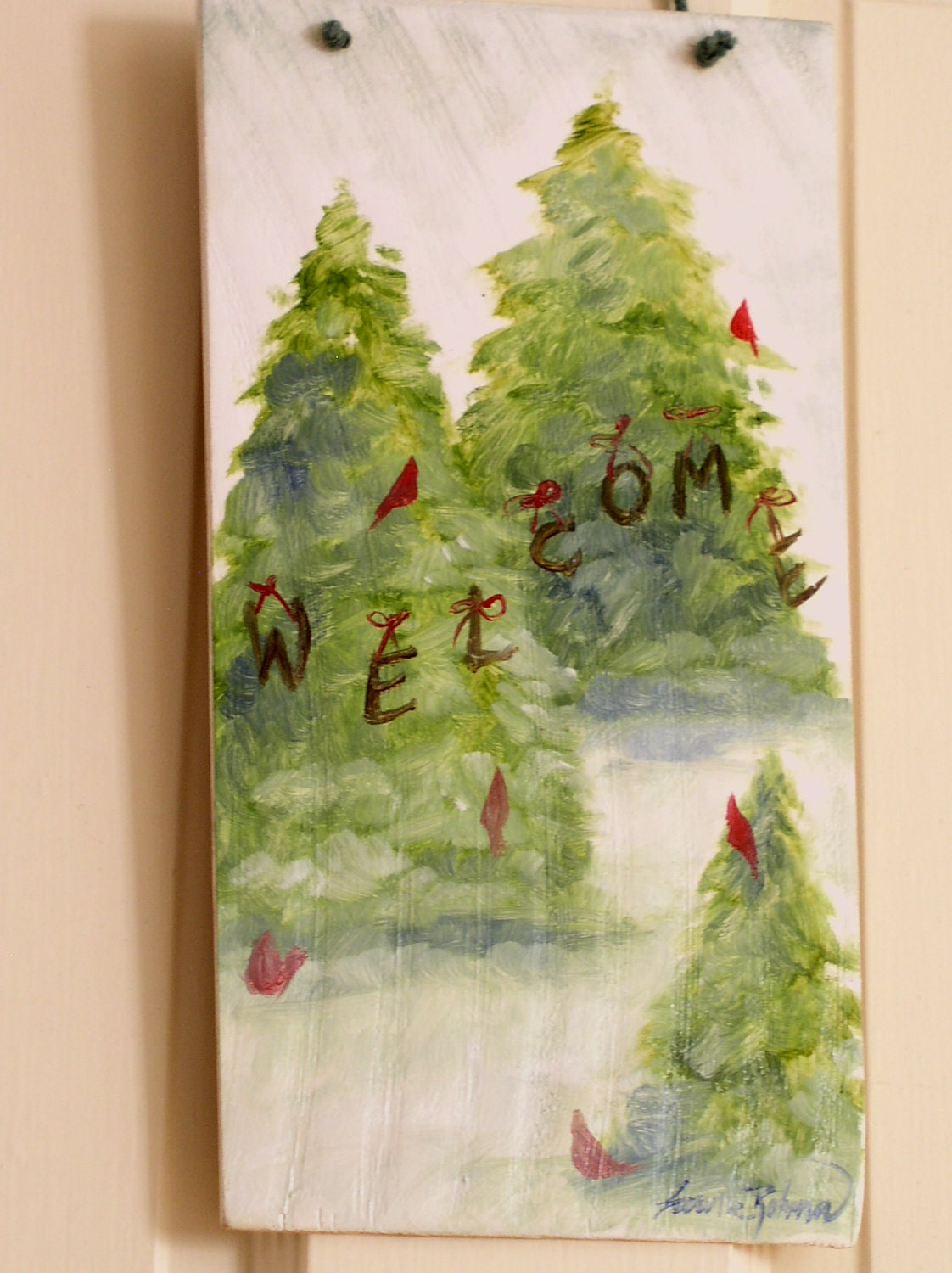 Painted Wooden Farmhouse Door Welcome Sign Pine Trees and Cardinals