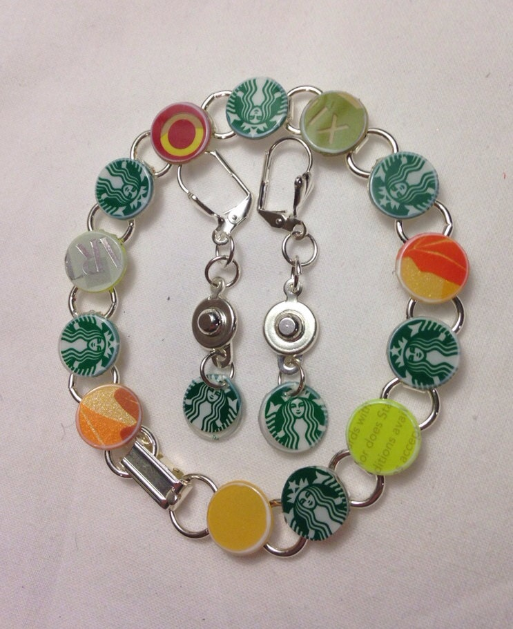 Starbucks Coffee Lover Gift Set of Bracelet and Earrings - Recycled Starbucks Gift Cards Bangle Bracelet and Dangle Earrings - JustPlainJane