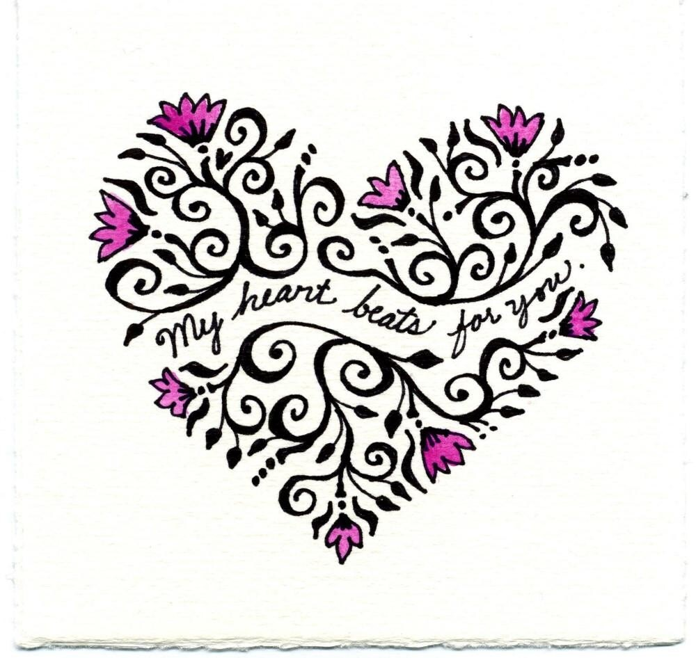 Heart Beat hand drawn Valentine card
