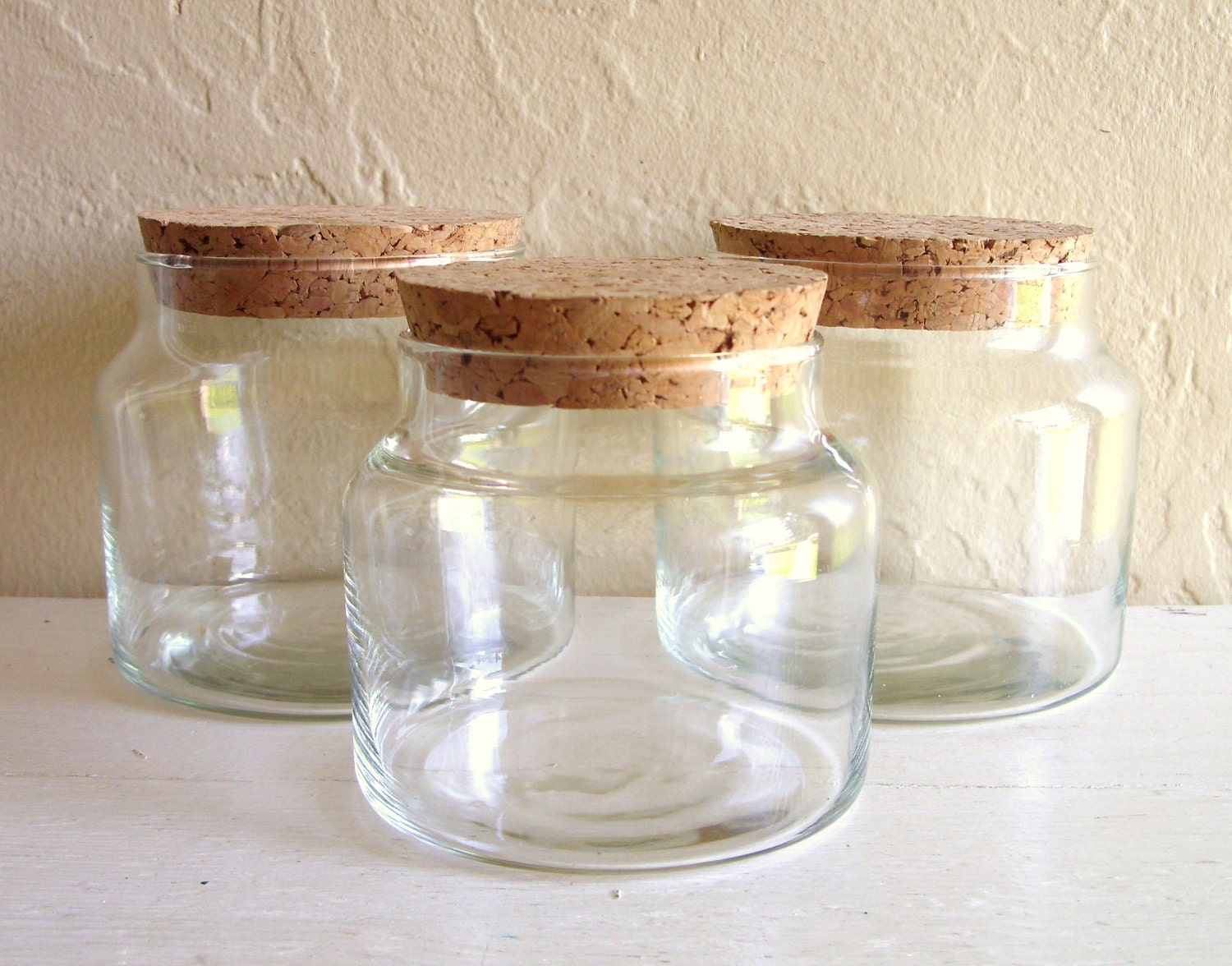 three matching glass apothecary jars with cork lids by shabbynchic. Black Bedroom Furniture Sets. Home Design Ideas