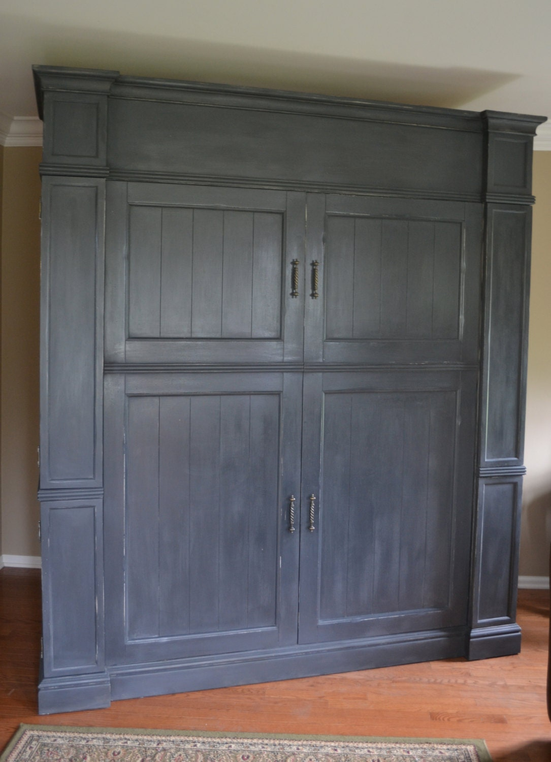 vintage large farmhouse shabby chic armoire by. Black Bedroom Furniture Sets. Home Design Ideas