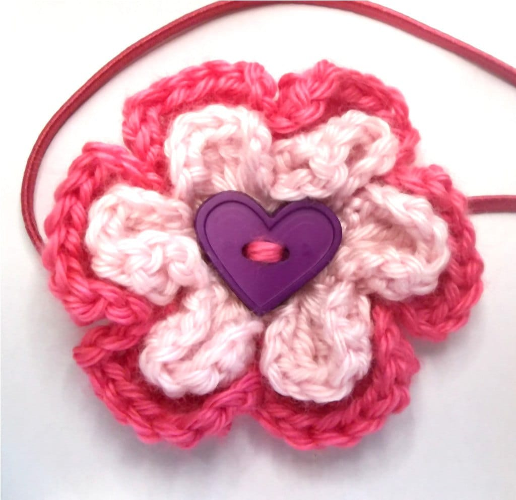 Crocheted Flower Elastic Headband Pink and Purple Heart