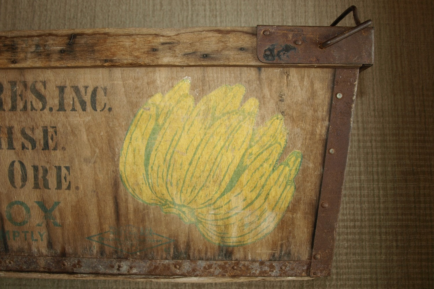 Vintage Wood And Metal Banana Produce Crate Box By