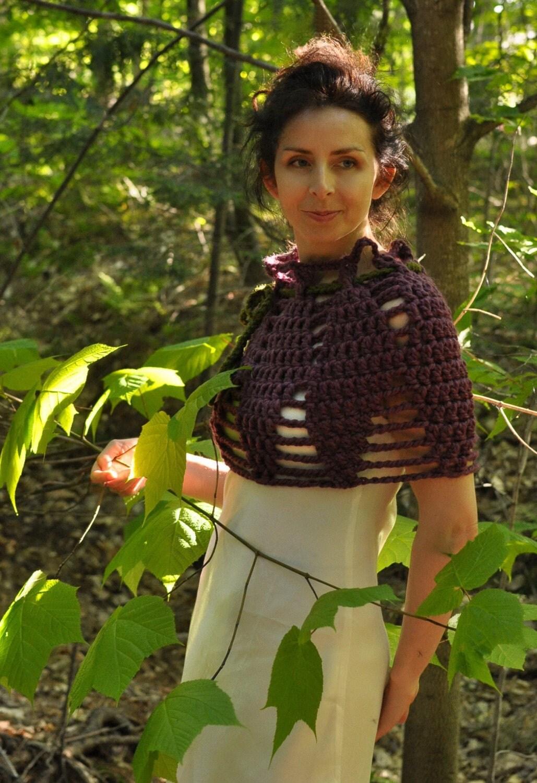Цветок лотоса - вязаные наминка / пончо / воротник / капота / плечо теплее в фиолетовом - размер L-XL
