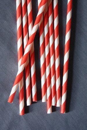 50 Red Striped Straws