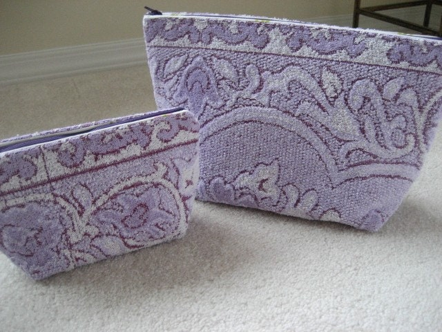 PURPLE RAIN-2pc Vintage Terrycloth Toiletry and Cosmetic Bag Set- Purple Lace