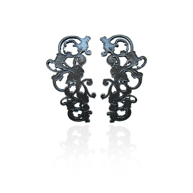 Black Lace Ear Cuff Earrings, Baroque Style Jewelry,Cyber Monday-Erin - DorotaKosJewellery