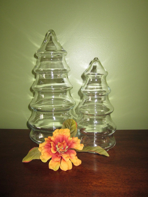 Sale christmas tree shaped clear glass jars set of by for Christmas glass jars
