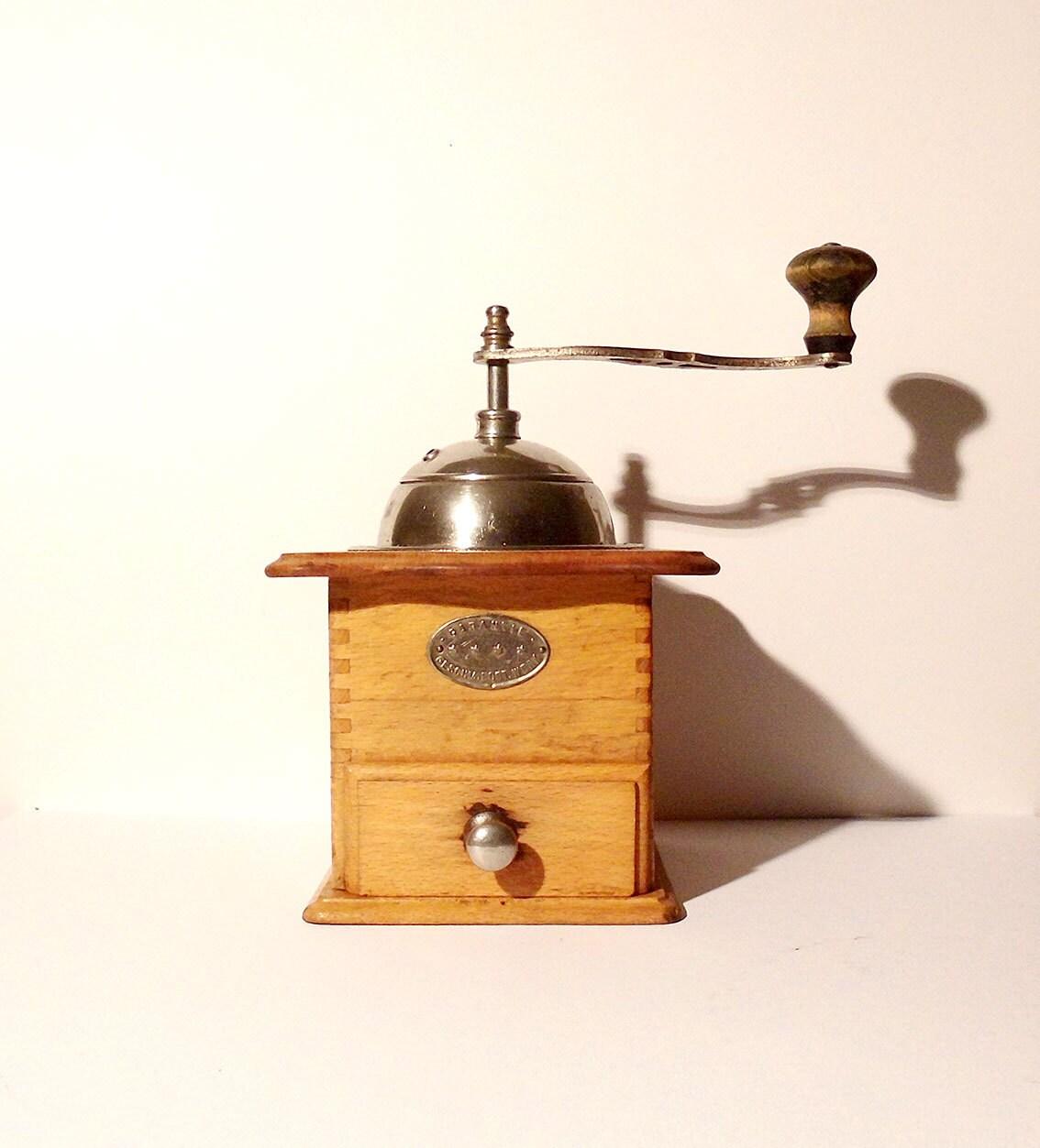 Vintage Wooden German Coffee Mocha Espresso Grinder / D.R.G.M. Garantie Geschmiedet. Werk - SunnysVintage