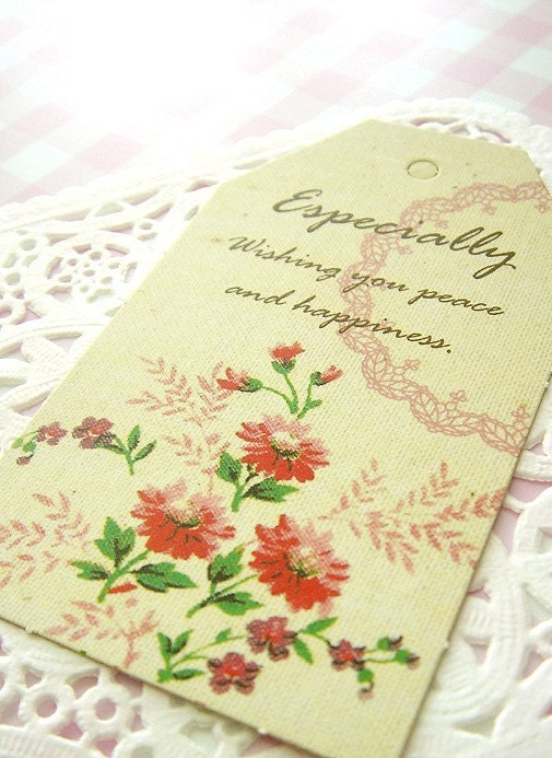 Set of 10 Vintage Flower Hang Tags