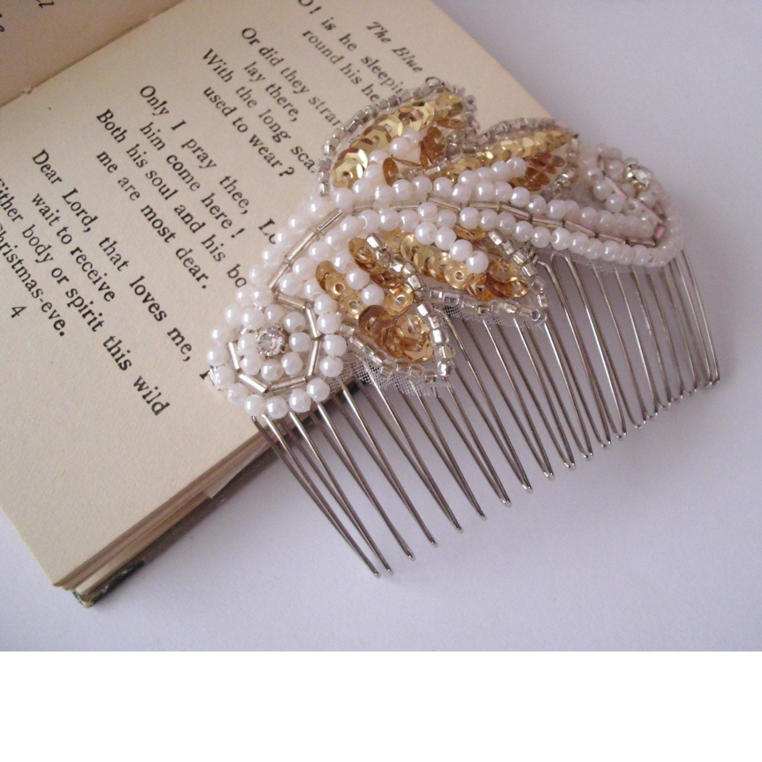 Silver and gold sequin hair slide