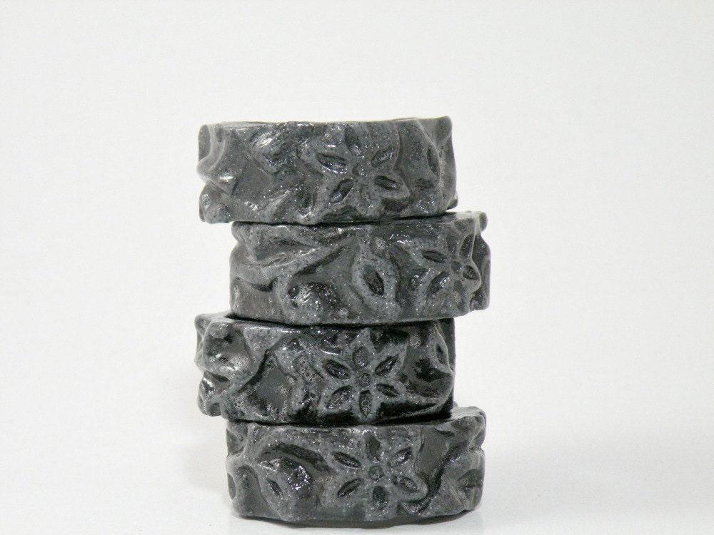 Napkin Rings - Set of 4 in Grey Gray Black Smoky