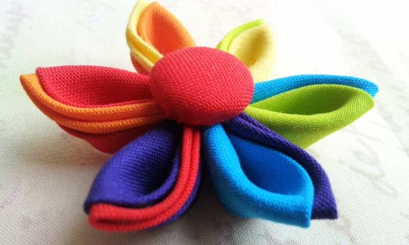 Kanzashi Fabric Flower in a Rainbow of Colors