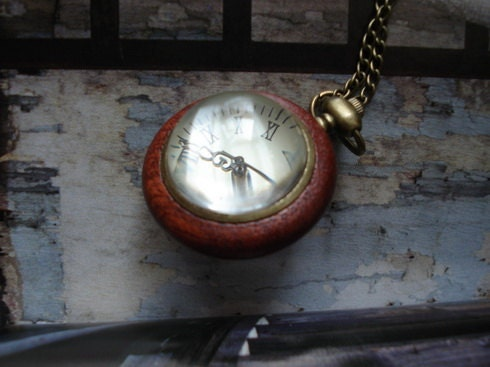 20% HOLIDAY SALE Antique Wood Grain Bronze Pocket Watch Necklace Wood Bronze Pendant With Chain E143