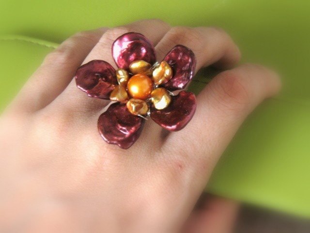 huge red flower cocktail ring