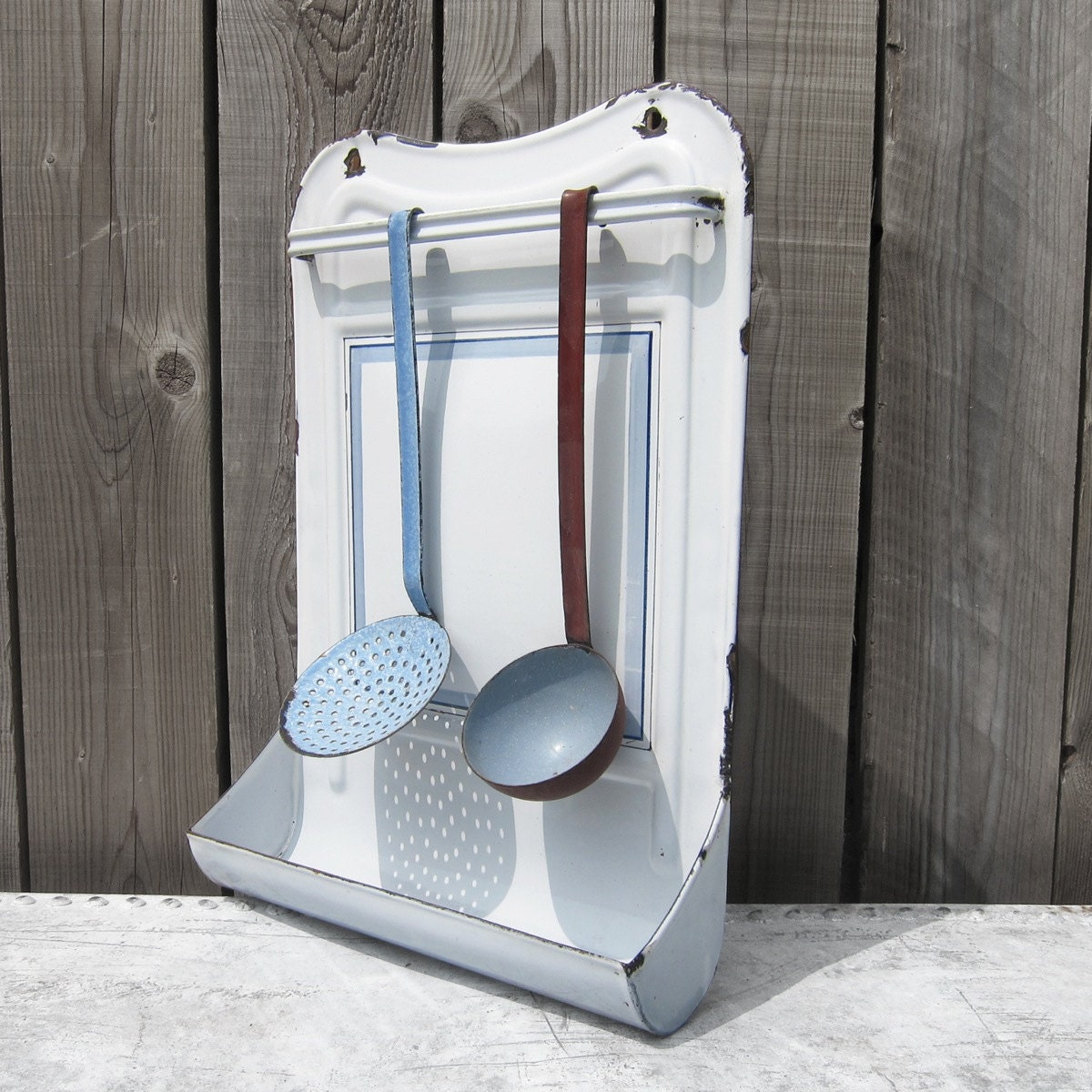 1950s Baby Blue White Metal Enamel Kitchen Utensil Rack Wall Holder ; Fabulous Kitchen Accessory - MagpiesVintageShop