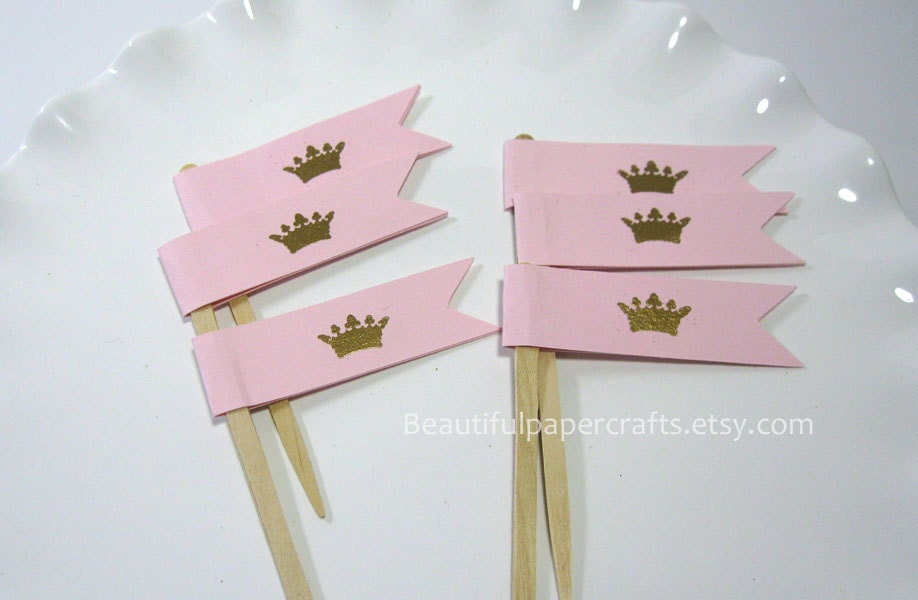 Royal Gold Crown Party Picks, Little Princess Cupcake Toppers, 1st Happy Birthday Decorations, Gold embossed crown