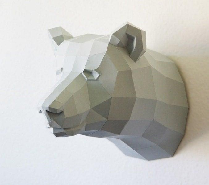 Oso pardo hojas de oficio, DIY modelo de recorte de papel, oso, oso, oso trofeo trofeo