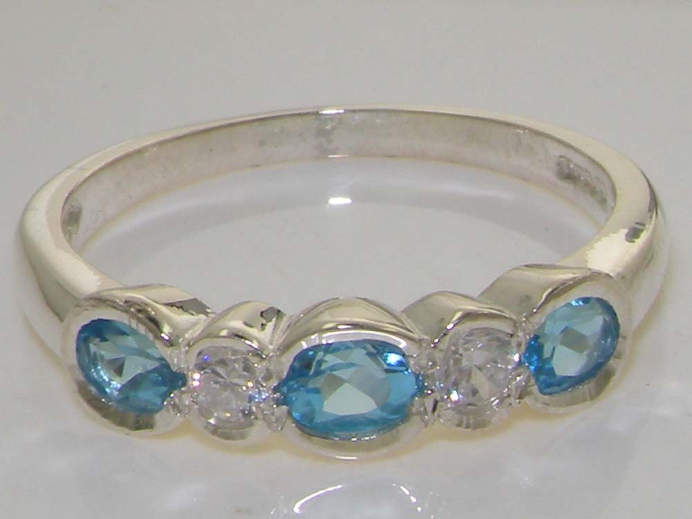 9K Solid White Gold Blue Topaz  Diamond Eternity Band Engagement Ring Wedding Ring  Customize9K14K18K