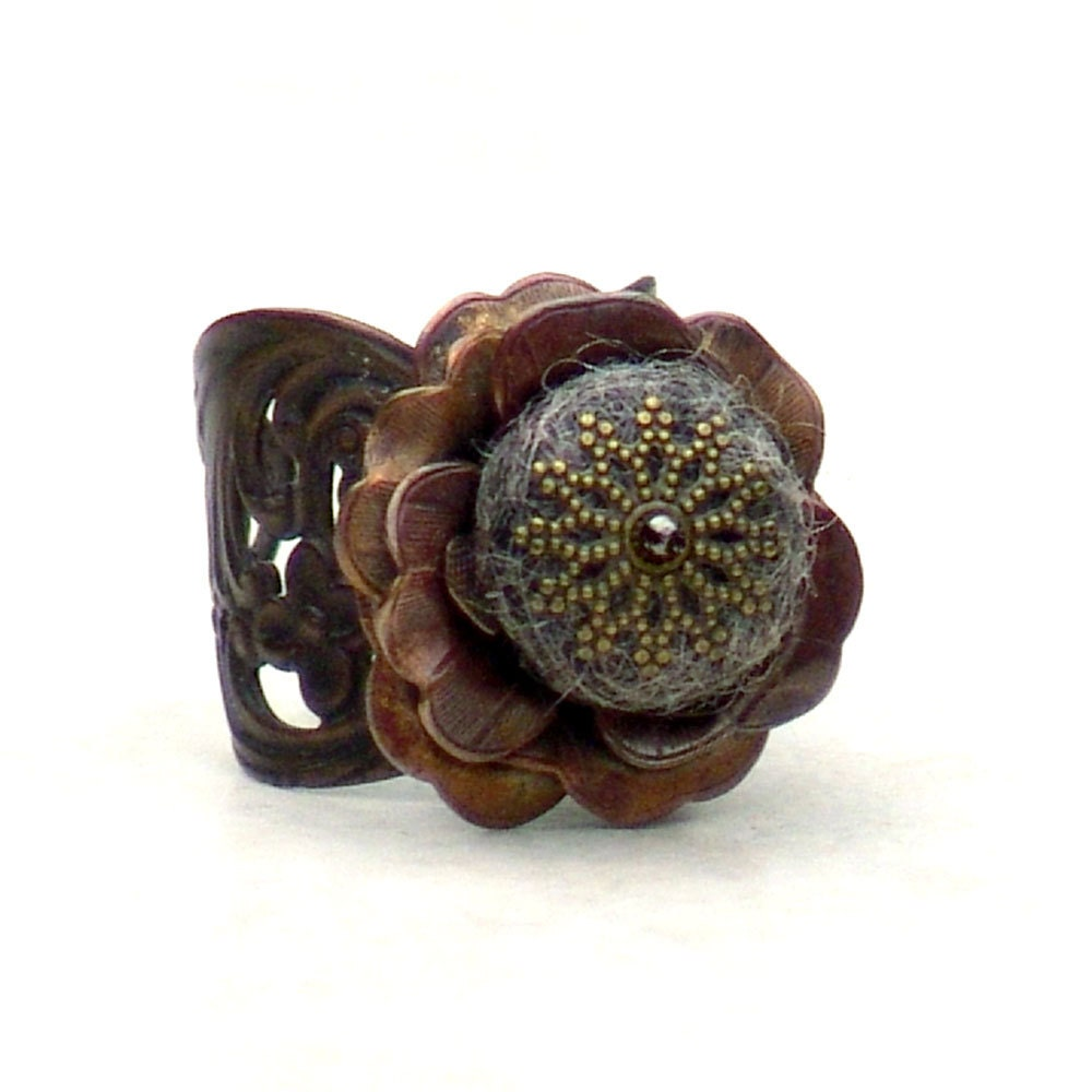 Earthy Flower Cocktail Ring Chocolate Gray Heather Fairy Rose -Metal Adjustable Brown Mixed Media Rustic - galleryzooartdesigns
