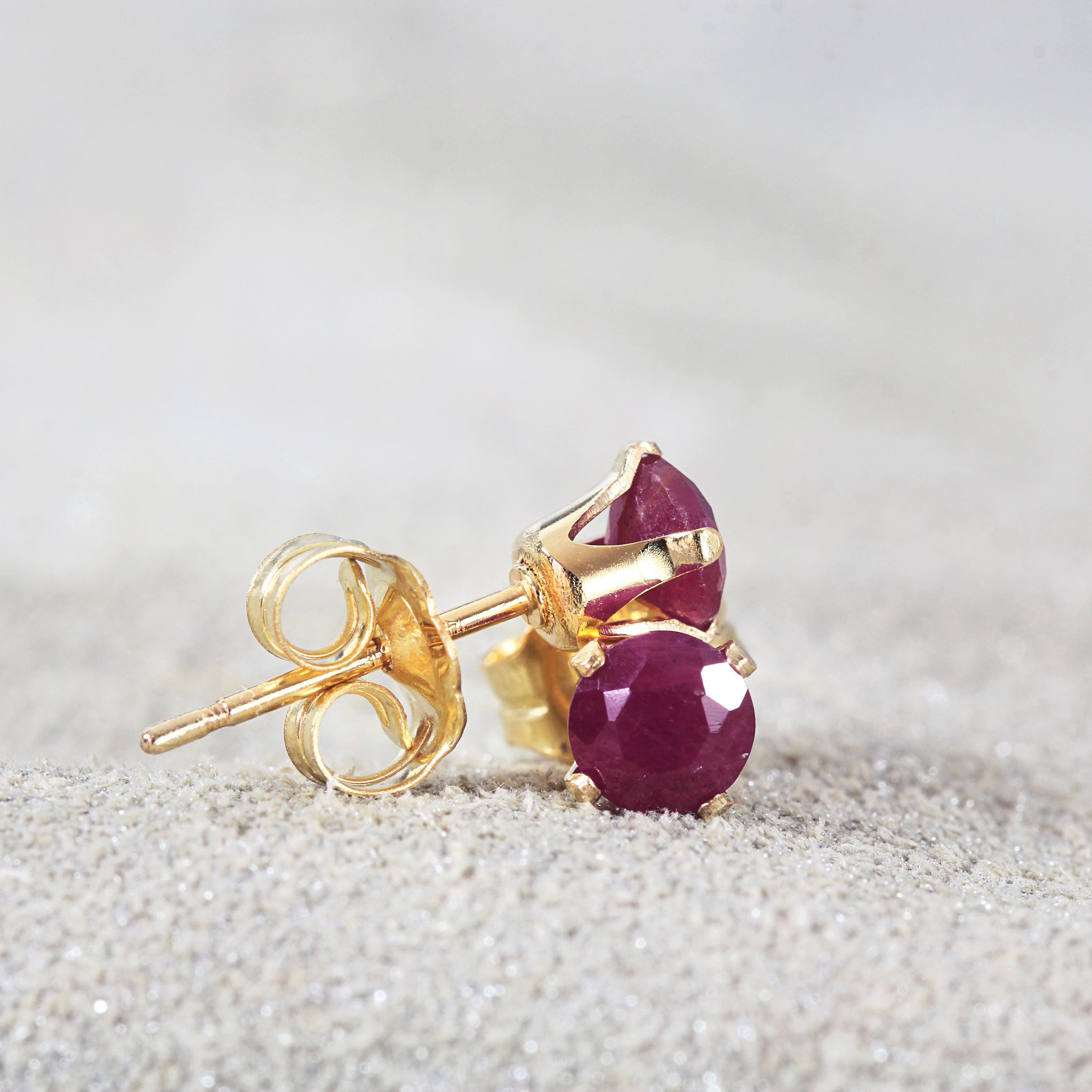 Ruby Stud Earrings  July Birthstone  Ruby Post Earrings  Genuine Ruby Jewelry  Gold Ruby Earrings  Gemstone Studs