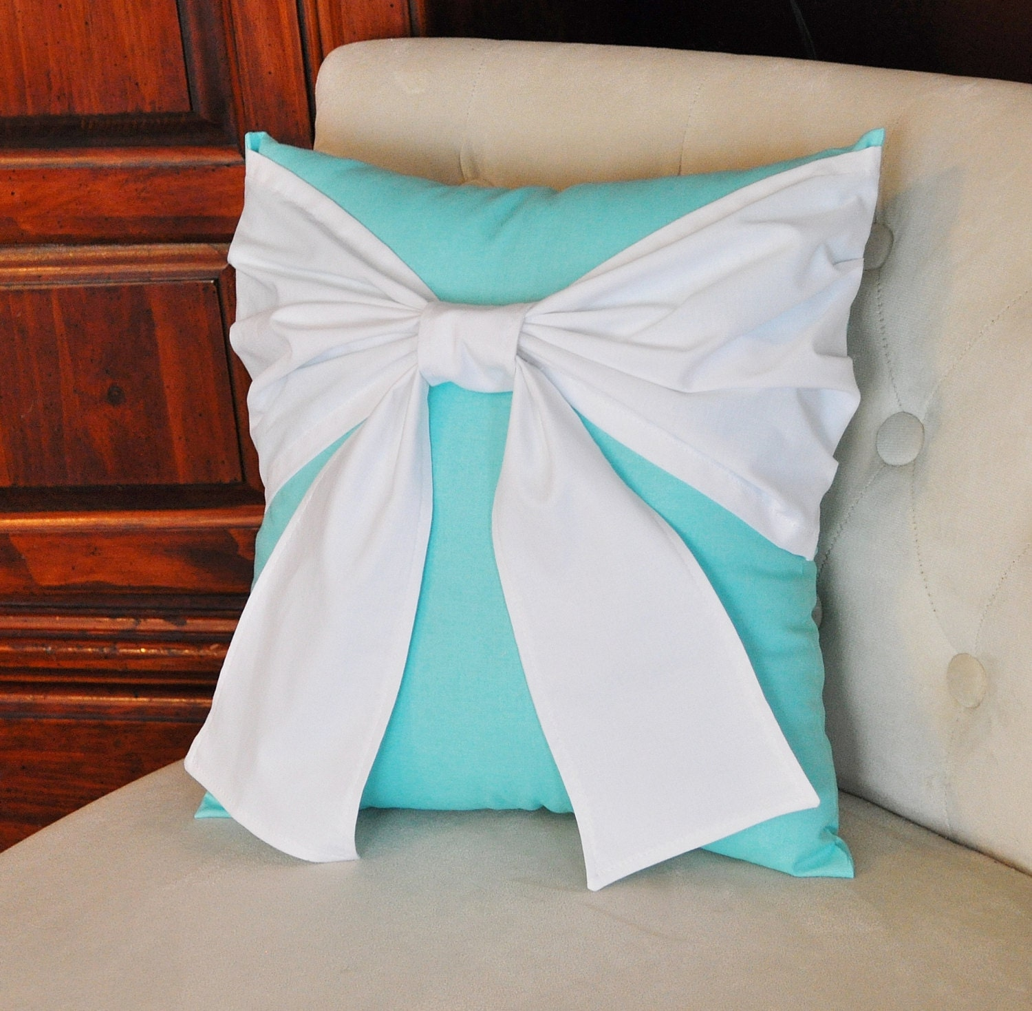 Decorative Pillows In Tiffany Blue : Throw Pillow White Bow on Bright Aqua Pillow 14x14 by bedbuggs